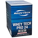 Cheap BodyTech Whey Tech Pro 24 Protein Powder Protein Enzyme Blend with BCAA's to Fuel Muscle Growth Recovery, Ideal for PostWorkout Muscle Building Strawberries Cream (12 Packets)