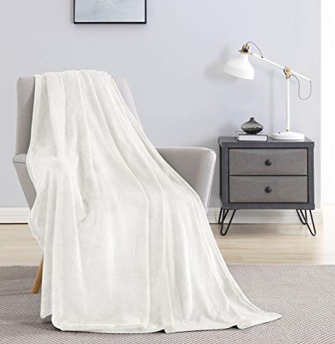 Tempcore Flannel Fleece Blanket Throw Size White,Super Soft Cozy Luxury Bed Blanket, Microfiber Blanket for Bed Couch Chair,White Throw