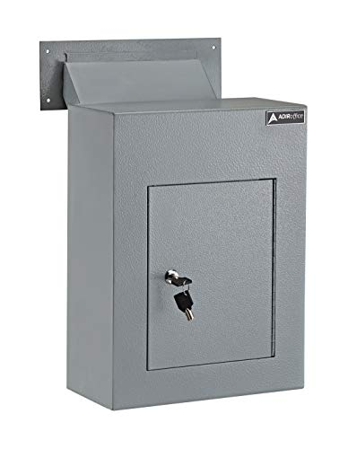 AdirOffice Through The Wall Drop Box Safe (Black/Grey/White) - Durable Thick Steel w/Adjustable Chute - Mail Vault for Home Office Hotel Apartment (Grey)