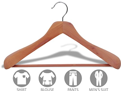 Deluxe Cedar Suit Hanger, Box of 24, 2 Inch Wide Hangers with Solid Wood Pant Bar by The Great American Hanger Company by The Great American Hanger Company