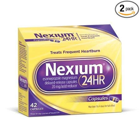 Nexium 24HR (42 Count, Capsules) All-Day, All-Night Protection from Frequent Heartburn Medicine with Esomeprazole Magnesium 20mg Acid Reducer (Pack of 2)