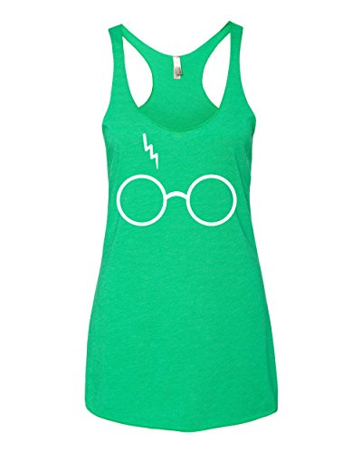 Wild Bobby Harry Potter Glasses Scar Premium Tri-Blend Racerback Women's Tank Top ( Green Envy , Large )