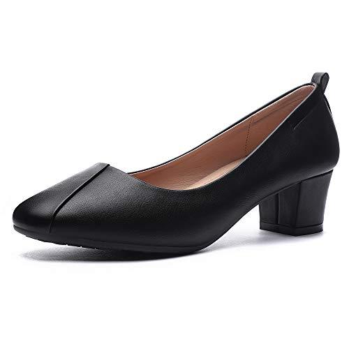 (CINAK Women's Chunky Low Heels-Comfort Square Toe Pumps Wedding Dress Office Shoes Black)
