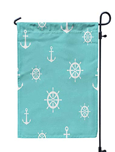 - Jacrane Welcome Small Garden Flag 12X18 Inches Nautical Pattern White Anchors Powder Blue Ship Boat Steering Wheel Ornament Marine Background Double-Sided Seasonal House Yard Flags Decorative