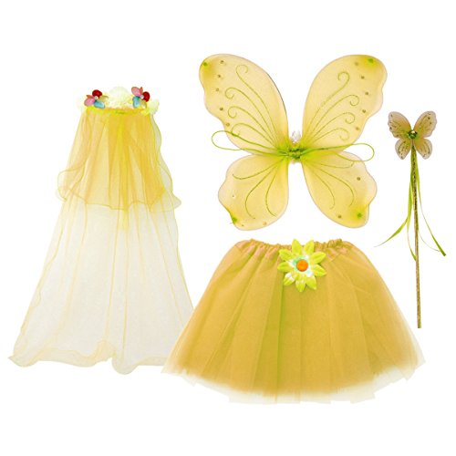 fedio 4Pcs Girls Princess Fairy Costume Set with Wings, Tutu, Wand and Floral Wreath Veil for Children Ages 3-6 (Yellow) - Kid Wings