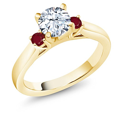 - 1.78 Ct Round White Zirconia Red Ruby 18K Yellow Gold Plated Silver 3-Stone Ring