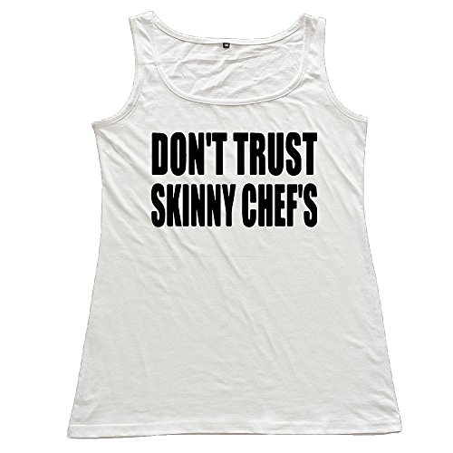 ZhiqianDF Women DON'T TRUST SKINNY CHEF'S Cotton Tank Top Cool T-Shirts White S