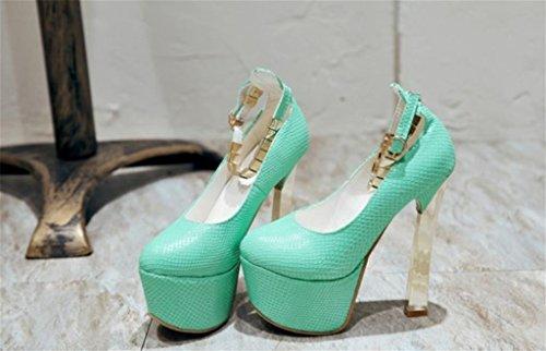 MNII Frauen Glänzende Straps High Heels Braut Hochzeitsfest Kleid Stiletto Pumps- Gute Qualität Blue