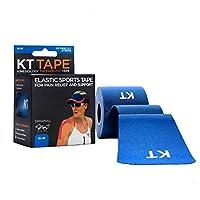 Cinta KT Cinta para deportes terapéuticos de kinesiología elástica de algodón original, 20 tiras precortadas de 10 pulgadas, azul