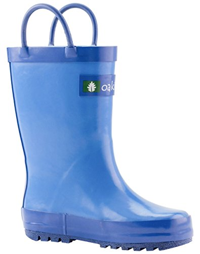 OAKI Kids Rubber Rain Boots with Easy-On Handles, Cobalt Blue, 6T US Toddler