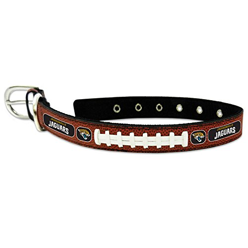 (GameWear NFL Jacksonville Jaguars Classic Leather Football Collar, Large, Brown)