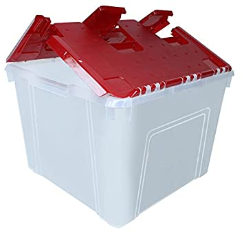 Amazing IRIS Wing Lid Storage Box With Ornament Divider, Red