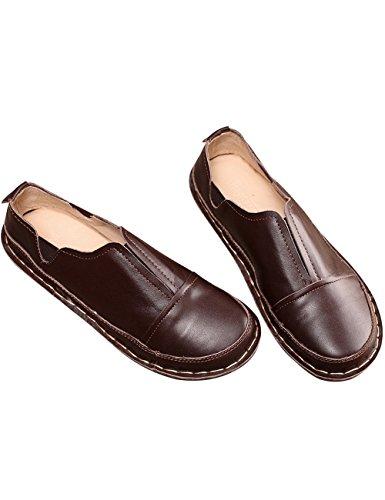 Youlee Damen Frühling Handarbeit Lederschuhe Loafer Flache Schuhe Kaffee