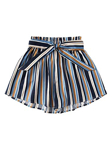 WDIRARA Women's Casual Boho Knot Front Tie Striped Print Shorts Multicolor-3 2XL