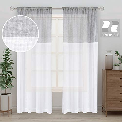 LORDTEX Color Block Sheer Curtains – Linen Look Semi Sheer Drapes 95 inches Long Rod Pocket Voile Window Curtains for Bedroom Living Room, Set of 2 Panels 52 x 95, White and Light Grey Stripe