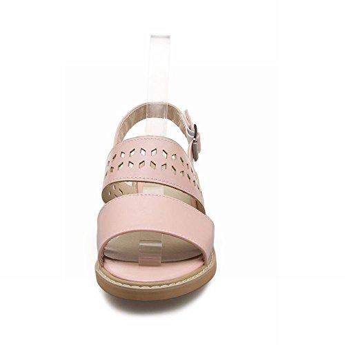Vrijetijdsbesteding Dames Open Teen Gesp Casual Mode Zoete Comfort Date Schattige Lage Hak Sandalen Roze