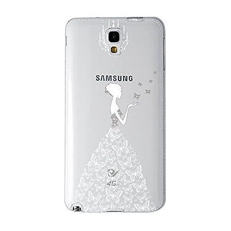 NOVAGO® - Carcasa transparente ultra slim flexible con impresión, compatible con Samsung Galaxy Note 3 lite