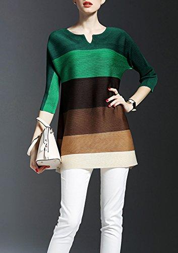 Camicie Colore Casual Donna Mini Vestiti Verde Pullover Collo JackenLOVE Bluse Lunga Vestitino 4 Cucitura Estivi Maniche Fashion Blouse 3 Tunica Camicia Top Sweatshirt Rotondo pBBnqwYEZ6