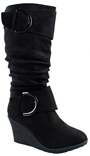 Top Moda Shoes Women's Pure-2 Black Buckle Mid Heel Slouchy Wedge Boots 5.5 D(M) US