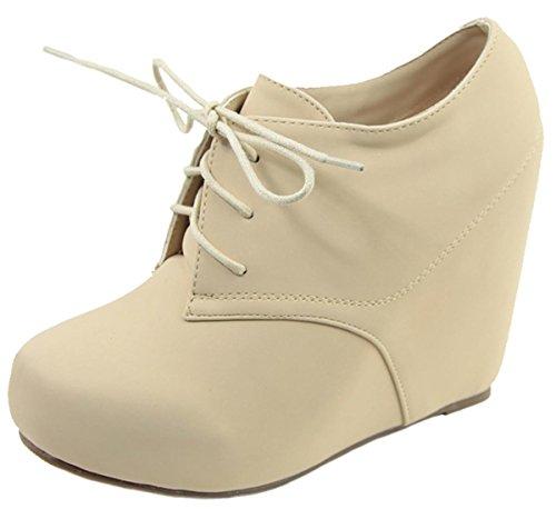 Anna Shoes Women's Hidden Platform Wedge Heel Lace up Ankle Bootie Beige