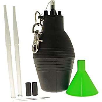 Insecticide Duster - Heavy Duty Self Sealing Insecticide Bulb Duster holds approx 1 cup of dust/granules, with belt clip and extension tips for uniform flow and accuracy.
