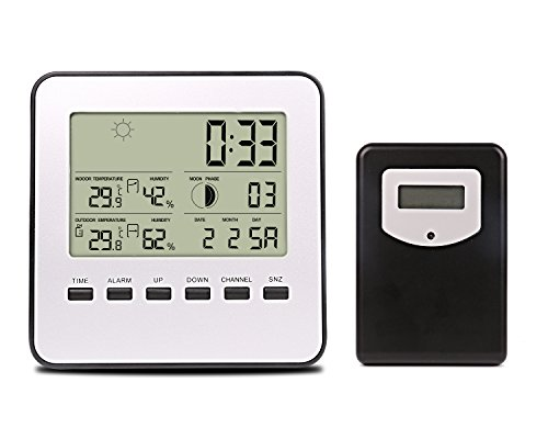 Weather Station, Digital Weather Channel Thermometer, Professional Wireless Weather Monitor Radio with Temperature, Humidity, Forecast, Clock and More, Remote Thermometer Sensor (White+Black)