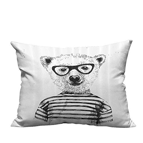 YouXianHome Pillowcase with Zipper Dressed Up Hipster Nerd Smart Male ar in Glasses Fun Character Animal Artful Ultra Soft & Hypoallergenic (Double-Sided Printing) 11x19.5 inch]()