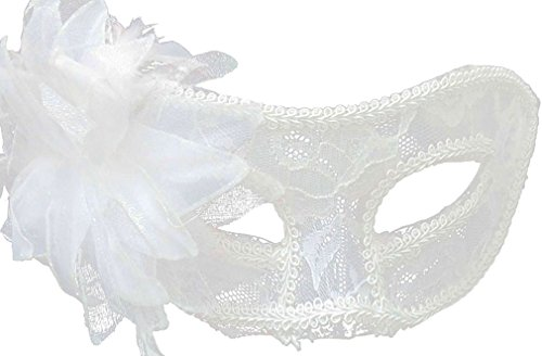 TAUT Women Venetian Pretty Party Evening Prom Masquerade Mask,White - Mask Feather Green
