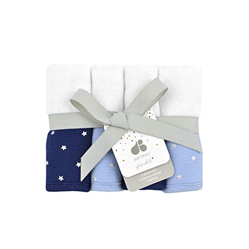 Just Born Sparkle 4pk Washcloths, Sky Blue
