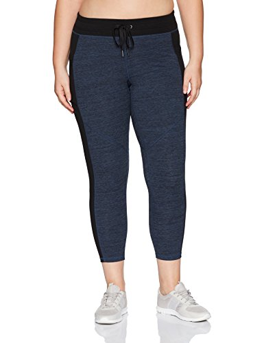 Calvin Klein Performance Women's Plus Size Colorblock Drawstring Legging, Eclipse/Creek Heather, ()
