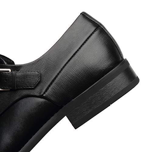 68029204e17ec NXT NEW YORK Mens Double Monk Strap Shoe Cap Toe Buckle Slip On Loafer  Leather Comfortable Formal Business Dress Shoe for Men