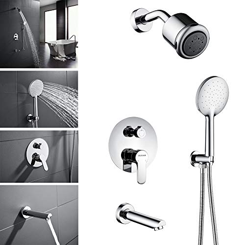 (OLEAH Shower Combo Set with Tub Spout Faucet, Wall Mounted Shower System Rain Shower Head & Handheld shower head,Solid Brass Single Handle Shower Mixer Valve Control,Chrome Finished)