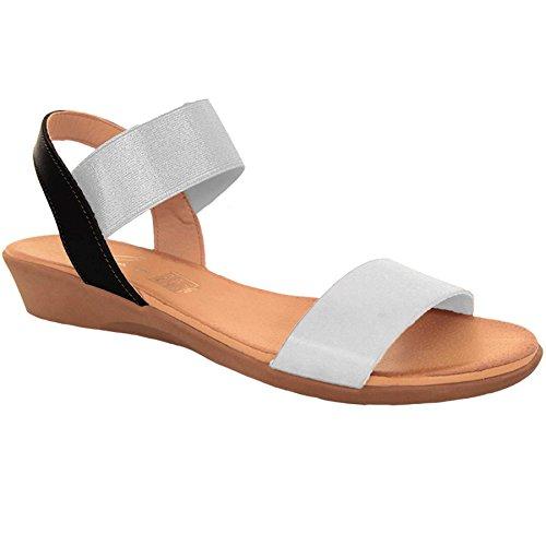 FANTASIA BOUTIQUE ® JLN053 Ladies Elasticated Chunky Strap Comfortable Low Wedge Fashion Sandals Silver / White i8oHrXki2