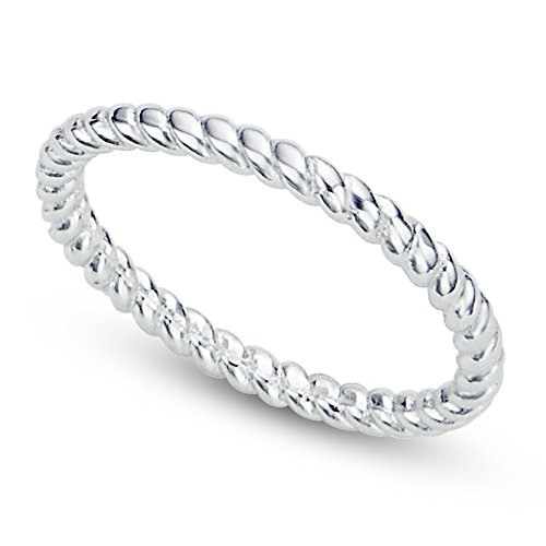 Sz 10 Sterling Silver 2MM Eternity Rope Wedding Band Ring Sterling Silver Metal Fashion Ring