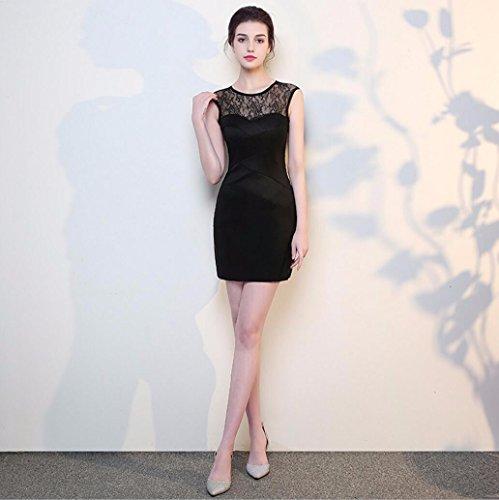 Longitud Vestido Bolsa Chica Nuevo Vestido Falda Un Hombro Noche Cadera Coreano Estilo Black Corto Compañía de Anual de Banquetes Vestido Dama de de WBXAZL de Formación la Conferencia wy0XFSq4F
