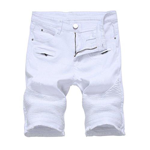 Casuale Uomo Jeans Moto Bianco Denim Yiiquan Pantaloncini Corti Strappati Mode Pantaloni Sguardo Distrutto wdEqxFxp5t