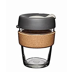 KeepCup 12oz Reusable Coffee Cup. Toughened Glass Cup & Natural Cork Band. 12-Ounce/Medium, Press