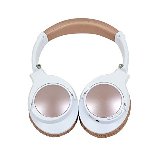 Wireless Bluetooth Headphones, Active Noise Cancelling Headphones with APT-X HiFi Deep Bass, Junwer V201 Over Ear Headset with Mic, 25 Hours Playback, for Travel TV Computer/Laptop - Rose Gold