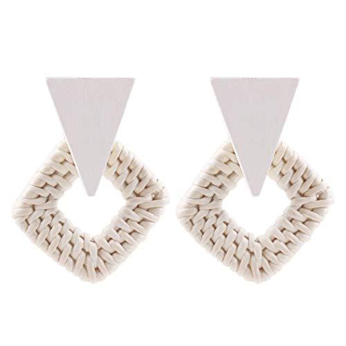 Titanium White Earrings - DENER Women Ladies Girls Dangling Earrings,Elegant Bohemian Pendant Hypoallergenic Sensitive Ears Studs Dangle Earrings (White)