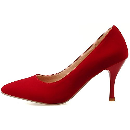 COOLCEPT Women High Heel Pumps Pointed Toe Solid Color Slip-On Stiletto Sude Shoes Formal Footwear Red XT4wDe