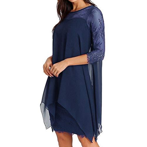 start_wuvi Summer Dresses for Women, Women's Plus Size Chiffon Overlay 3/4 Sleeve Sundress Mini Dress Blue