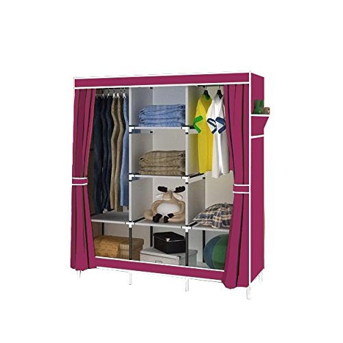Magshion* Super Portable Closet Rack Storage Cloth Shoe Organizer-3 Style (Cloth Super, Wine)