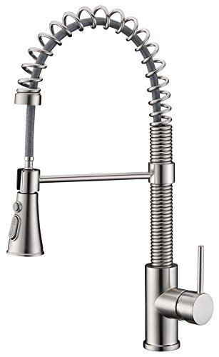 Avola Lead Free Modern Kitchen Sink Faucets,Single Handle Pull Out Sprayer Spring Solid Brass Kitchen Faucets,Brushed Nickel
