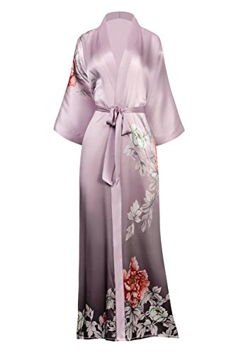 KIM + ONO Women's Silk Kimono Robe Long - Floral Print, Botan- Dusty Lilac