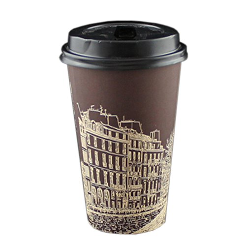 16 oz Creative Disposable Coffee Paper Cup With Lids 50 Count, No.4