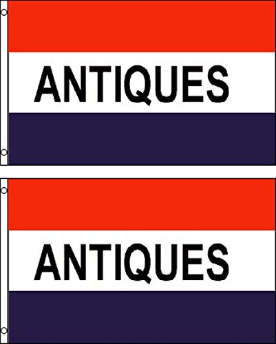 Antiques Polyester Flag Banner Sign (Pack of 2)