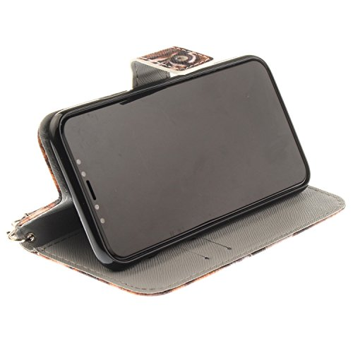 iPhone X Hülle Tiger König PU Leder Wallet Handytasche Flip Etui Schutz Tasche mit Integrierten Card Kartensteckplätzen und Ständer Funktion Für Apple iPhone X / iPhone 10 (2017) 5.8 Zoll + Zwei Gesch