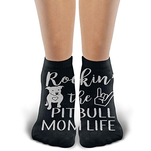 Unisex Comfort Fashion Rockin' The Pitbull Mom Life Colorful Patterned Low Cut Ankle Socks Casual Cotton Moisture Wicking Socks for Men Women and Girls