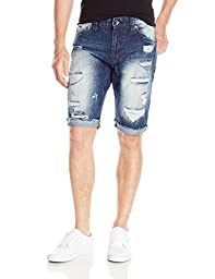 Southpole Men\'s Denim Shorts with Destructed Ripped and Repaired, Dark Sand Blue, 34
