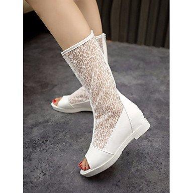 Botas de la mujer confort PU Primavera Casual plana en blanco y negro White